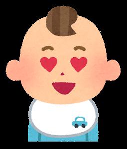 赤ちゃんの表情のイラスト(男・目がハート)