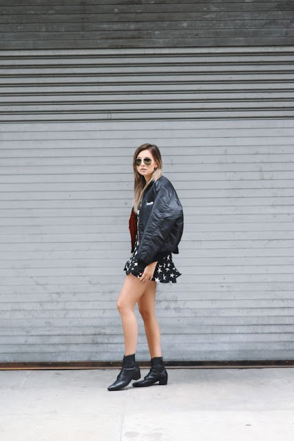 Danielle We Wore What Oversized Black Satin Bomber Jacket