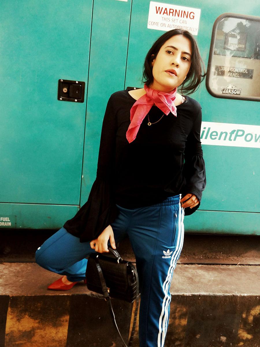 navyNexttop,AdidasOriginalTrack Pants,Zarablackbag ,ZararedmediumwideHeels,styleblog