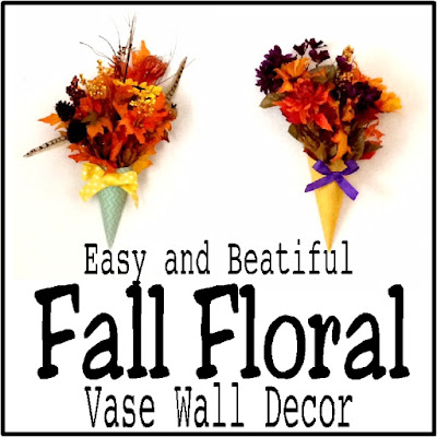 Wow.  I am so in LOVE with these fall floral arrangements.  They will be perfect for my fall festival wall decorations at our Halloween party...and they were so easy and cheap to make.  I'm going to make them for every room in my house!