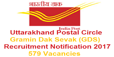 Uttarakhand Postal Circle Recruitment 2017 for 579 GDS Posts