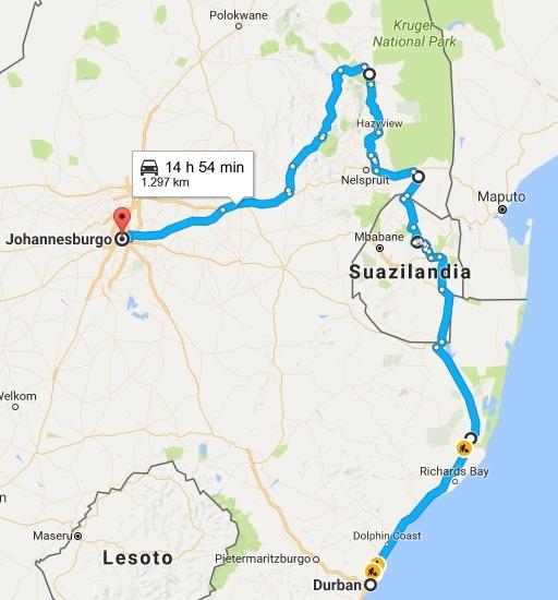 Itinerario aproximado de la Ruta 2