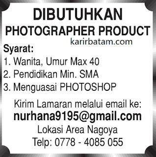 Lowongan Kerja Photografer Product