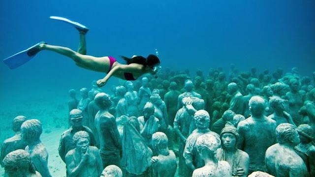 メキシコ・カンクンにある海の中の美術館??サンゴも守る?【a】 MUSA海底美術館