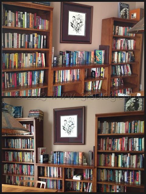 stocked bookshelves collage