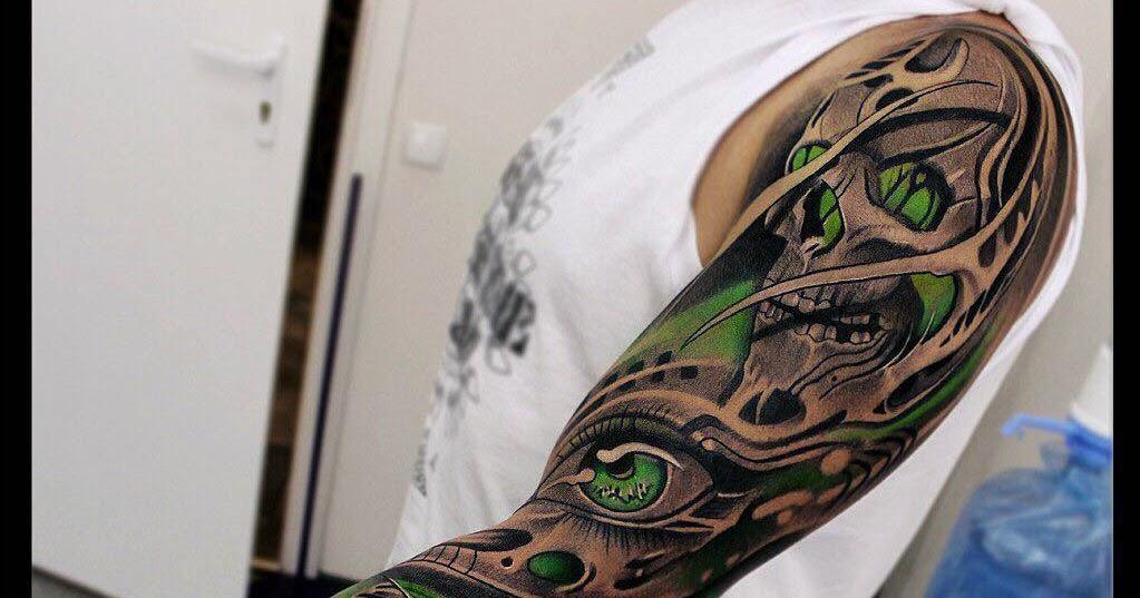 Face Sleeve Tattoo: Skull And Girl Face Full Arm Sleeve Tattoo