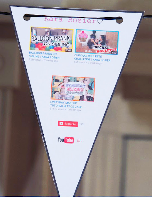 Youtube Birthday Party- Free Food Card Printables and Flag Bunting Banner