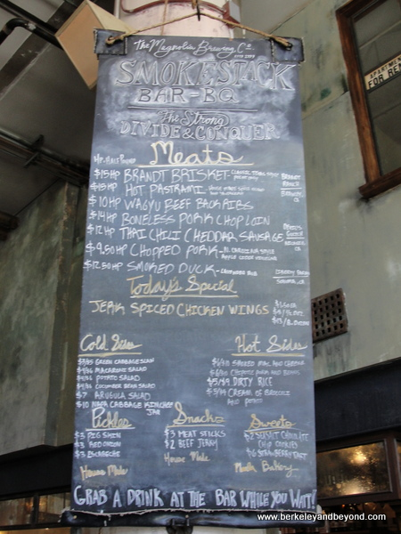 menu at Smokestack at Magnolia Brewing in San Francisco