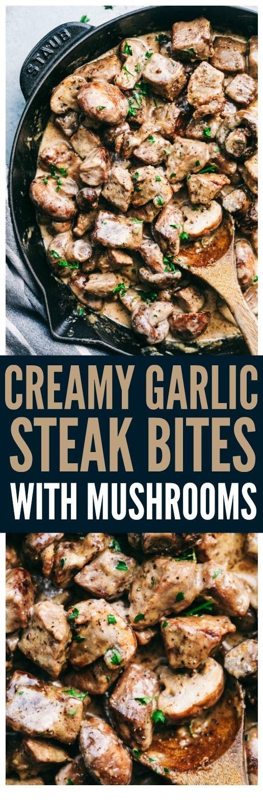 Creamy Garlic Steak Bites With Mushrooms