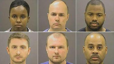 Los seis policias implicados en la muerte del afroamericano Freddie Gray en abril del 2015