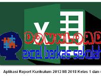 Aplikasi Raport Kurikulum 2013 MI 2018 Kelas 1 dan 4 Format Excel