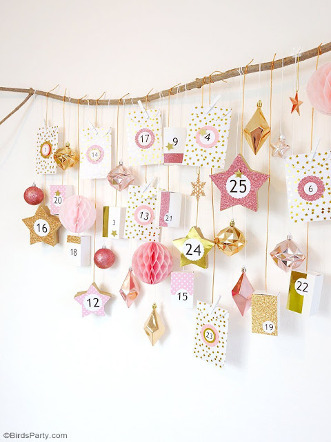 modern pink & gold advent calendar