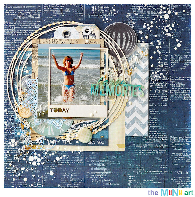 happy memories | The Mini Art DT @akonitt #layout #chipboard #by_marina_gridasova