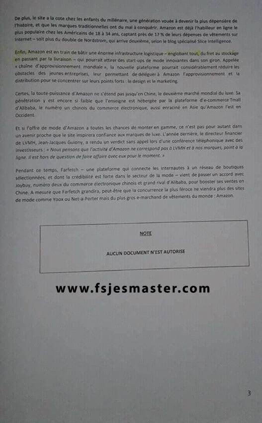 Exemple Concours Master Management et Stratégie des Organisations 2017-2018 - Fsjes Marrakech