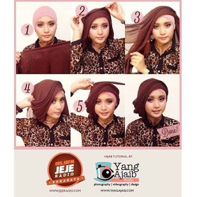 Tutorial Hijab Turban Segi Empat Modern Gaya #15 Drappery Layering