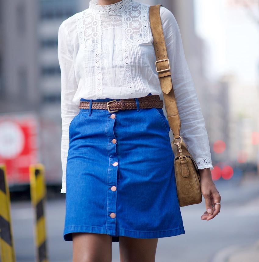 Where Did U Get That - Denim A Line Button Skirt