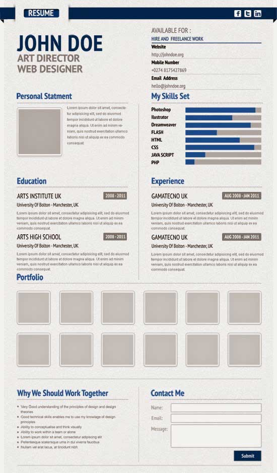 Free Creative Resume Template 17