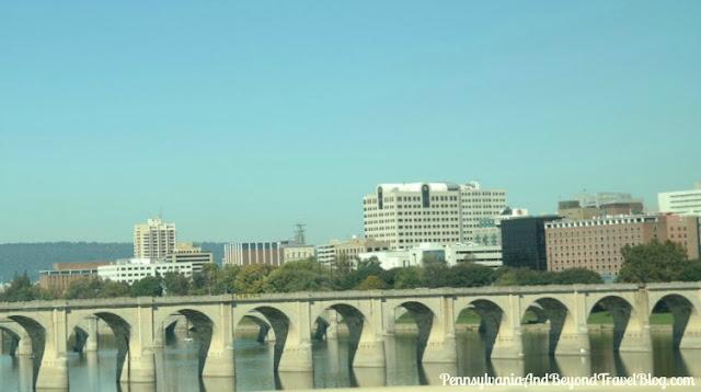 Harrisburg City Skyline and Susquehanna River Bridges