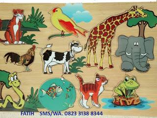 Mainan Anak Puzzle Kayu Macam-Macam Hewan