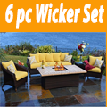 Outdoor Innovations Bellamar 6 Piece All Weather Wicker Fire Conversation Furniture Set, Outdoor Spaces. Outdoor Furniture, Outdoor Living, Outdoor sofa Sets, Outdoor Sectional Sets,