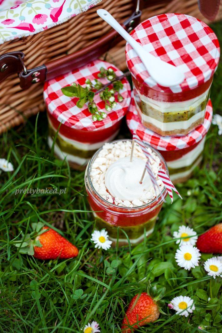 Fruit dessert in a jar