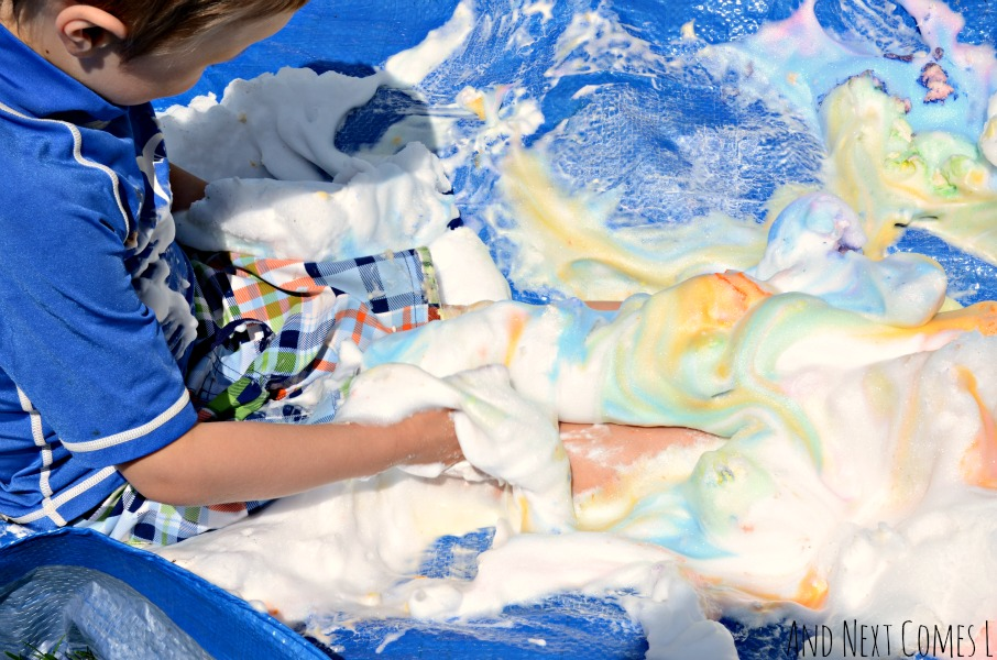 Messy sensory play with colored shaving cream from And Next Comes L