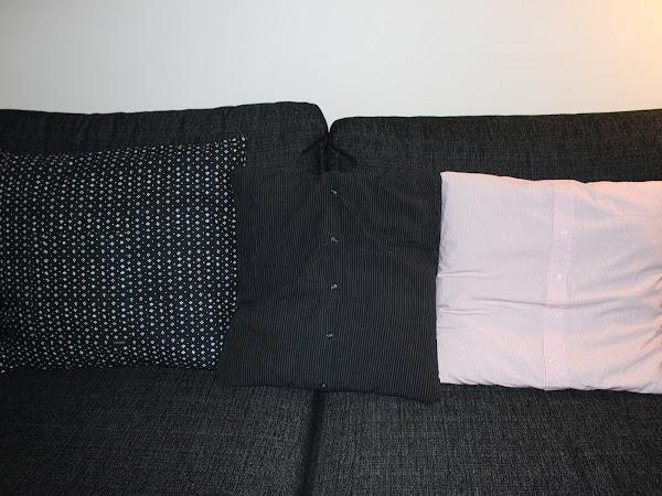 Kauluspaidoista ja essusta sohvatyynyjä - Cushion covers from men's shirts and an apron