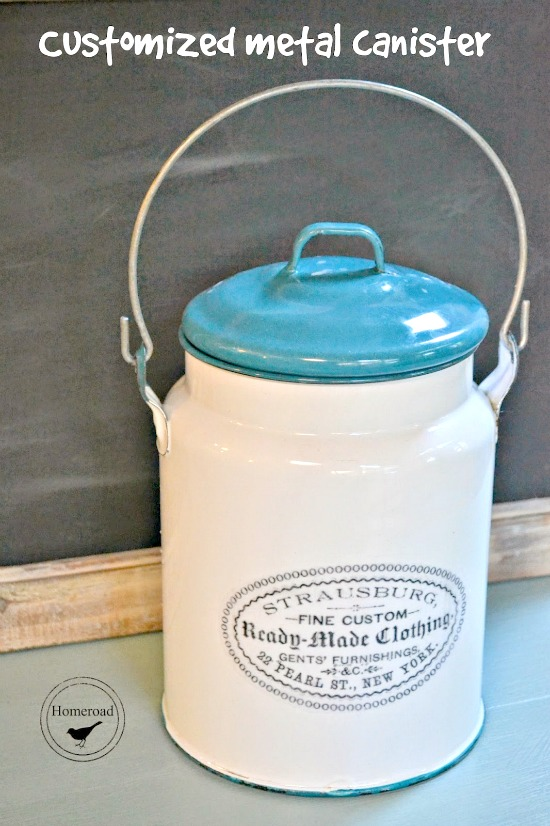 metal canister with label