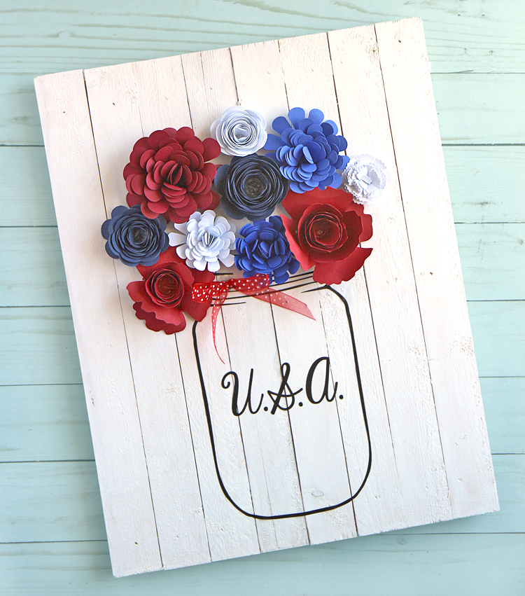 Patriotic Pallet Wood Sign with Rolled Paper Flowers