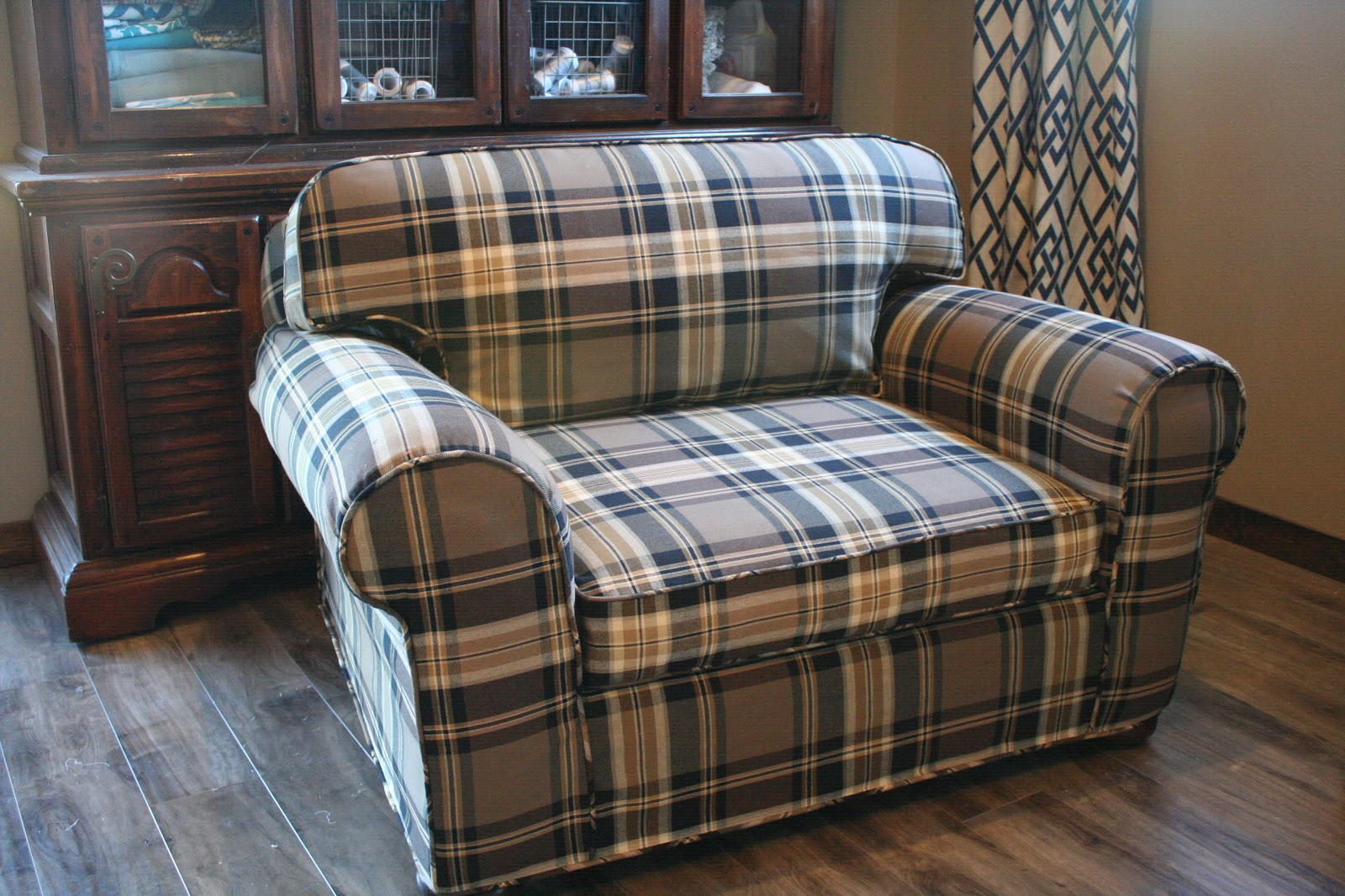 Custom Slipcovers by Shelley Giveaway and Plaid Chair