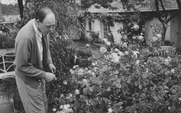 Roald Dahl en su jardín
