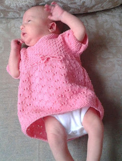 Sweet Lace newborn baby dress knitting pattern
