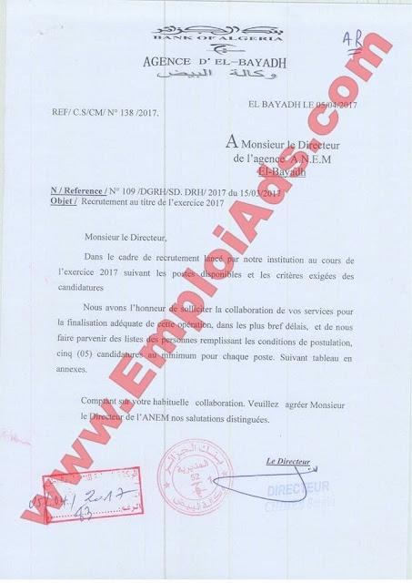 اعلان عروض عمل ببنك الجزائر ولاية البيض افريل 2017
