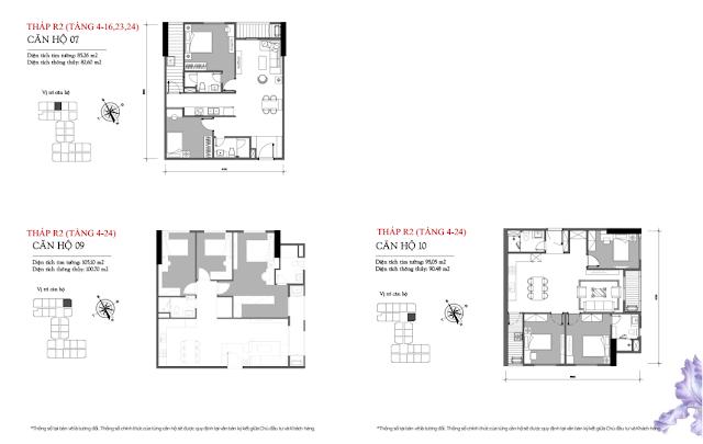 Mặt bằng căn hộ 07 – 09 – 10 tòa R2