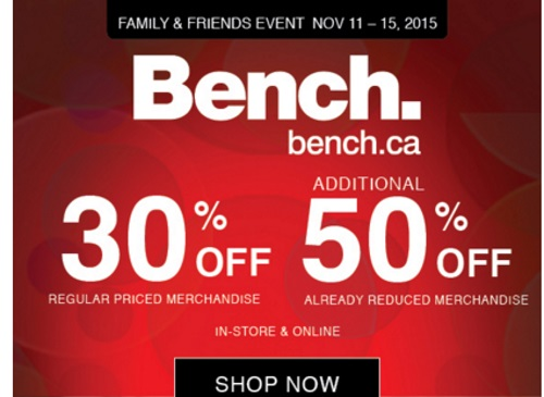 Bench Friends & Family Up To 50% Off