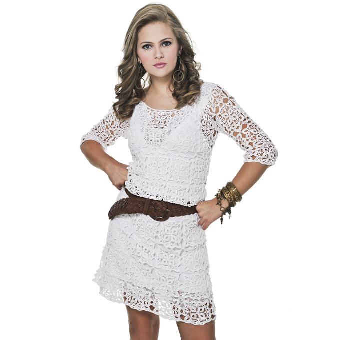 2e7c09f7bc554 Vestido Branco em Crochê União de Motivos - por Helen Mareth