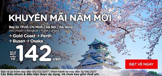 Khuyến mãi năm mới từ Air Asia giá 142 usd