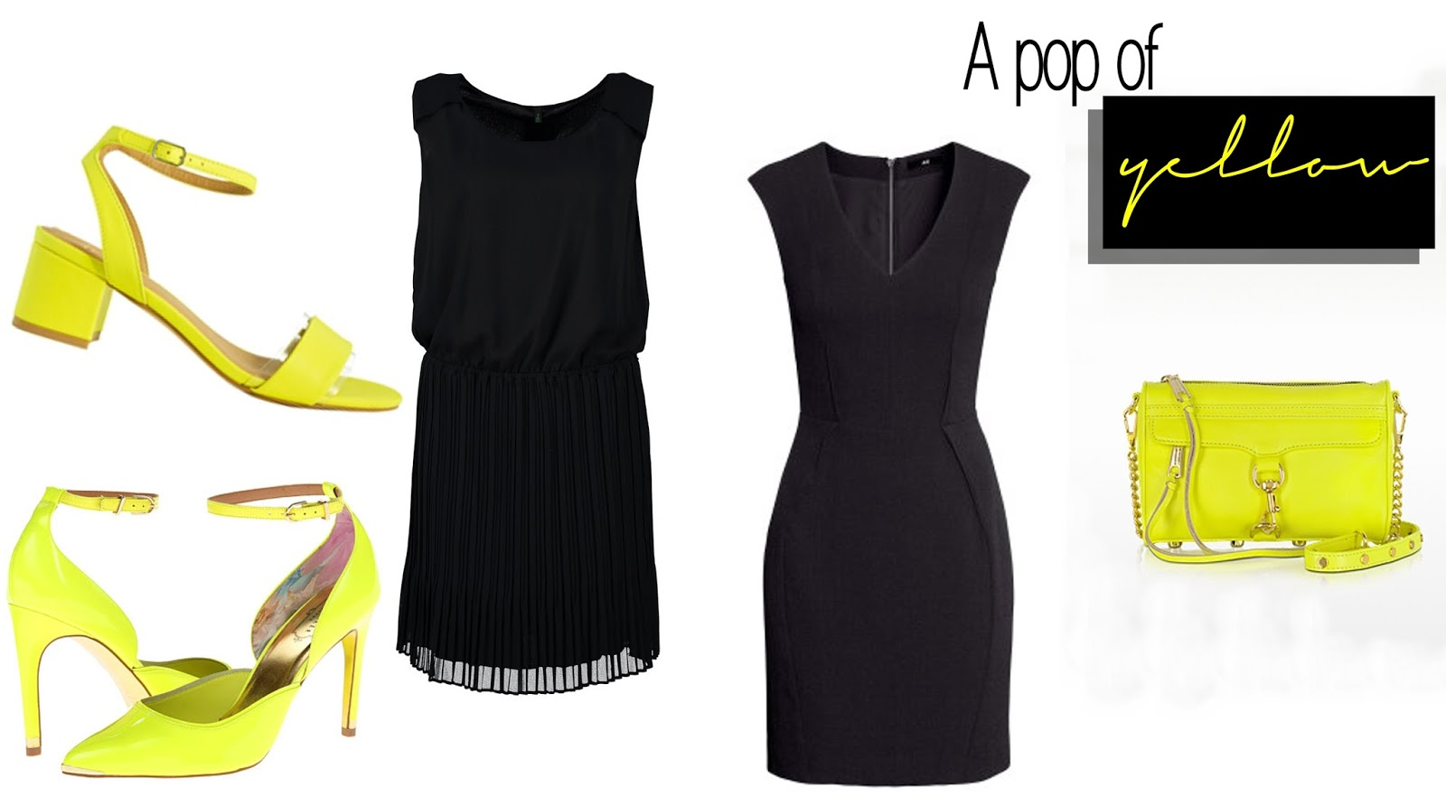 Black dress LBD Yellow Neon heels sandals ASOS Rebecca Minkoff Mini Mac