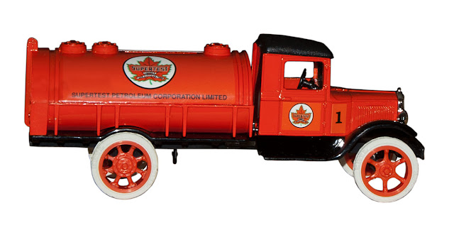 The first issue of a collectible diecast tanker by Ertl, branded for Supertest.