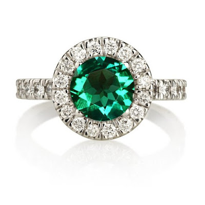 Emerald Diamond Ring at Duets Etsy Shop