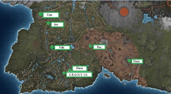 ELEX, Companions, Locations Map, Caja, Arx, Falk, Drone, C.R.O.N.Y. U4, Duras