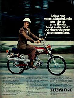 propaganda moto Honda - 1973, moto anos 70, Honda década de 70, Oswaldo Hernandez,