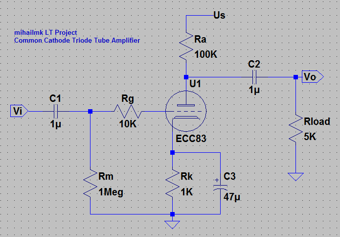 Electro-Magnetic World: Common Cathode Triode Tube Amplifier