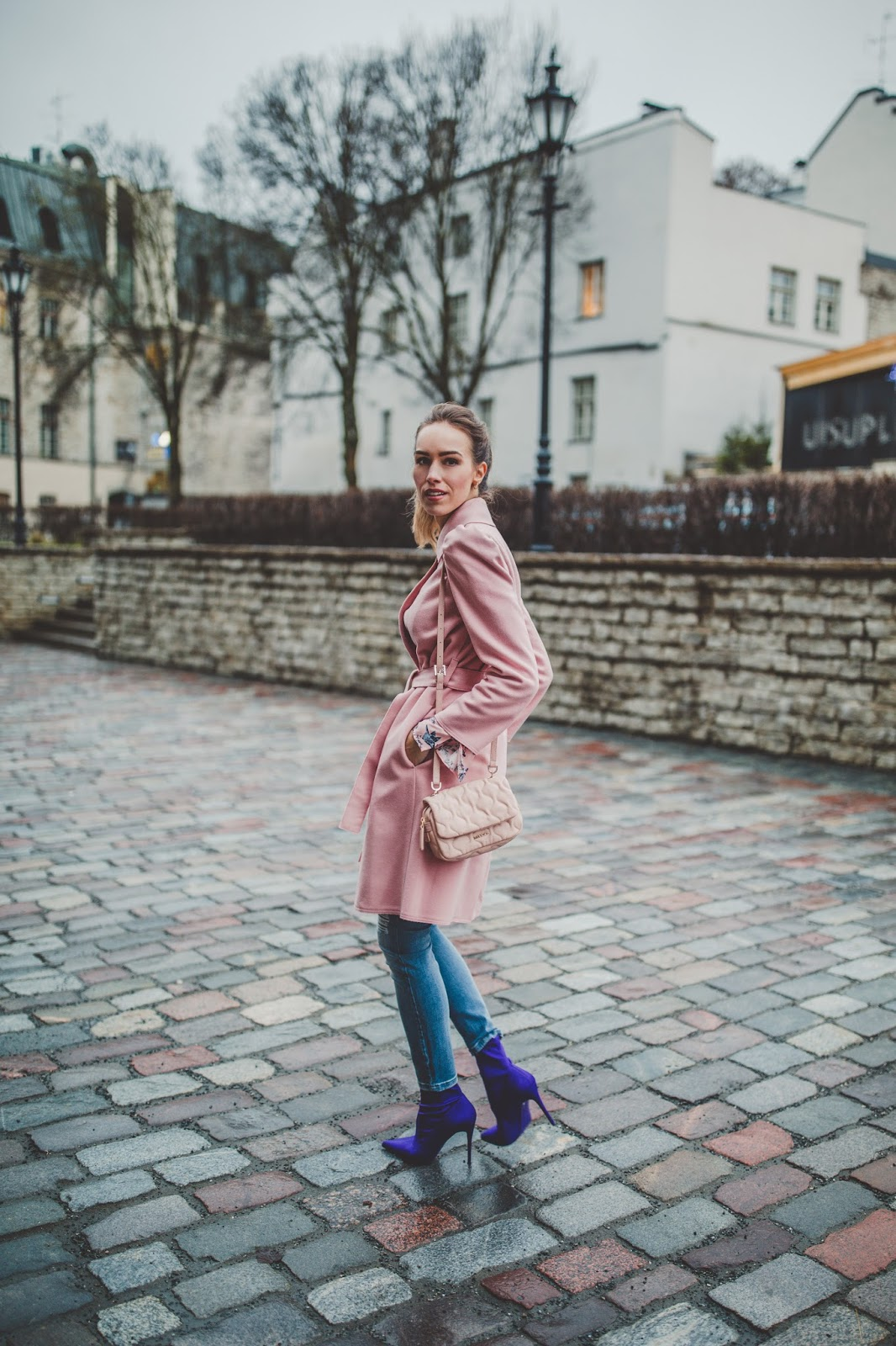 purple sock boots fall outfit