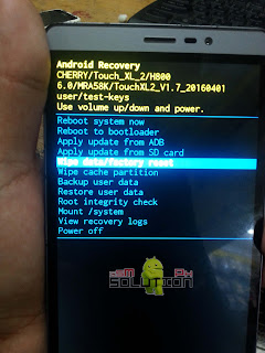 Cherry Mobile TOUCH XL 2 wipe data / factory reset