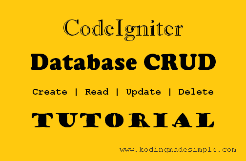 CodeIgniter Database CRUD Tutorial for Beginners with Examples