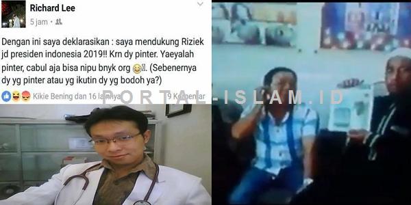 Diburu Muslim Cyber Army Palembang, Dokter yang di FB GAGAH Hina Habib Rizieq, di Dunia Nyata NGUMPET di Ketiak Ayahnya