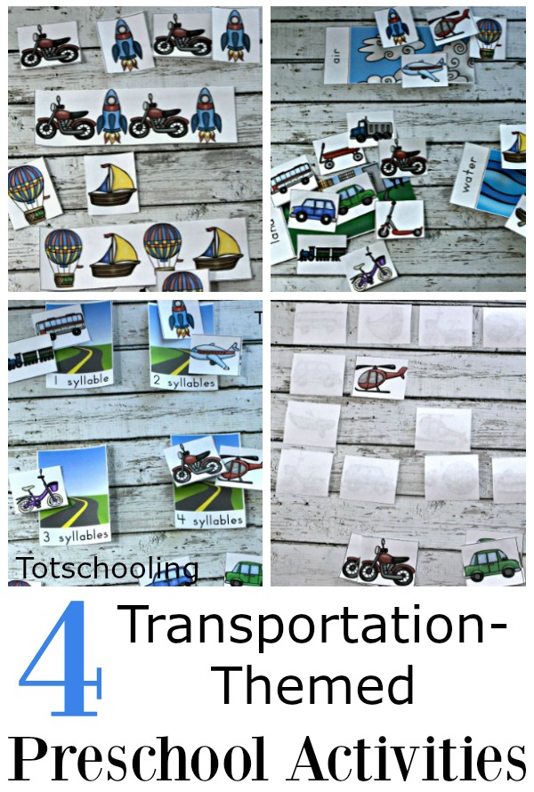 4 FREE Transportation activities for preschoolers featuring cars, trucks, trains, boats and other vehicles. Activities include matching, patterns, sorting by air, land, water, and sorting by syllables.