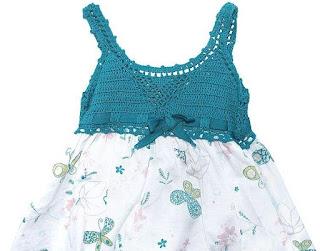 Üstü Örgü Altı Kumaş Bebek Elbise Modelleri