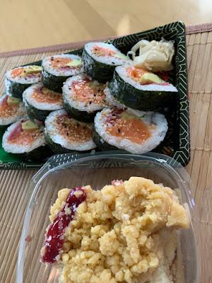 sushi, cake